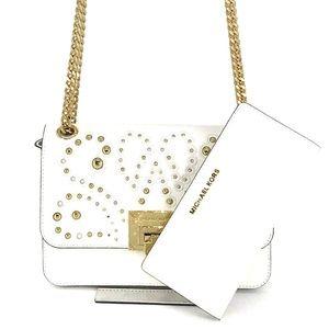 2PCS Michael Kors Tina Studded Shoulder Bag Wallet